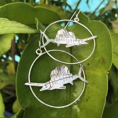 Sterling Silver Sailfish Hoops