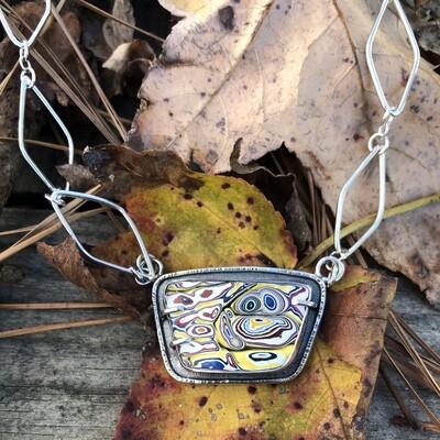 Corvettite Pendant with Handmade chain