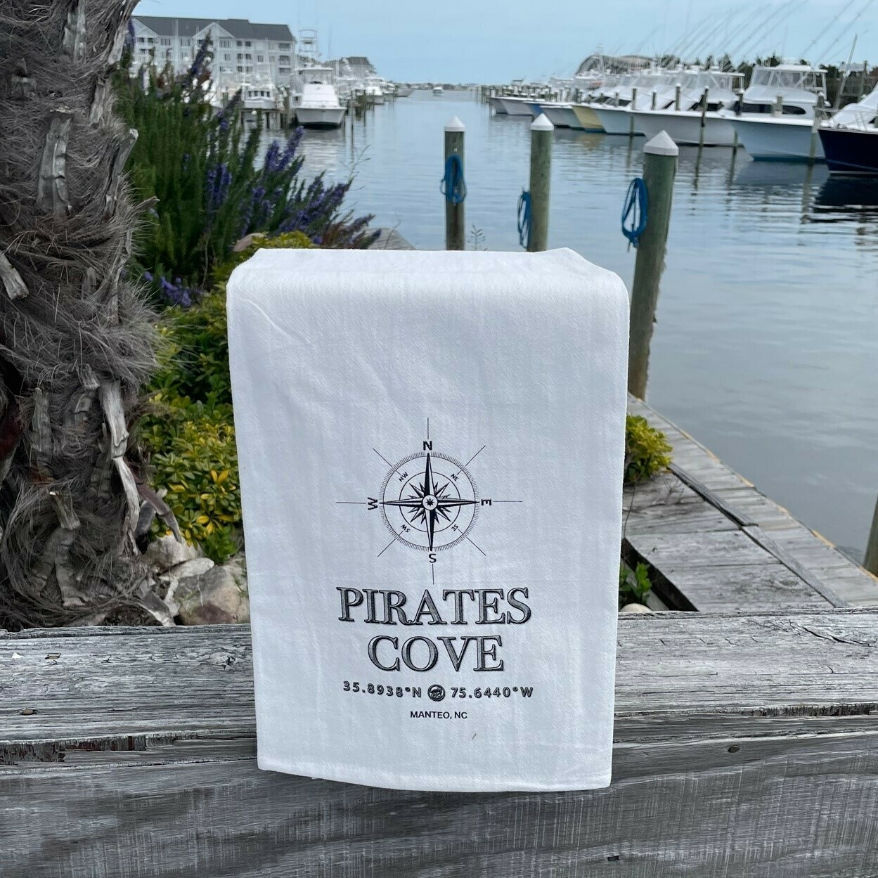 Pirate's Cove Flour Sack Dish Towel Compass