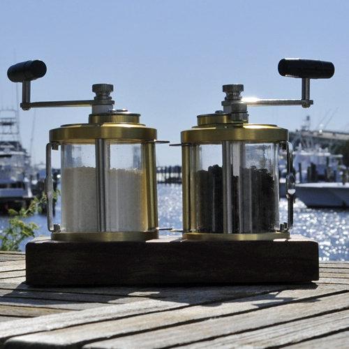 Ocean Reel Salt & Pepper Shaker with Teak Base