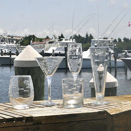 Swimming Fish Cut Stemless Wine Glass