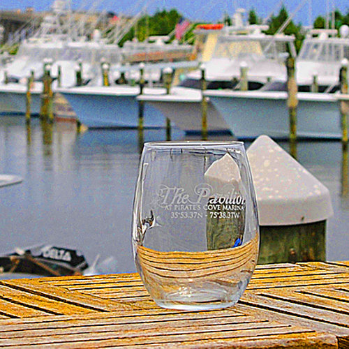 The Pavillion at Pirate's Cove Stemless Wine Glass