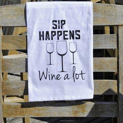 Sip Happens Wine A Lot Kitchen Towel