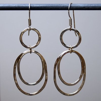 Gold-filled Hammered Double Ovals