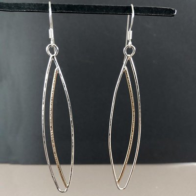 Mixed Metal Marquis shaped Earrings