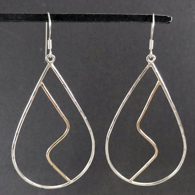 Mixed Metal Zig-Zag Teardrop Earrings