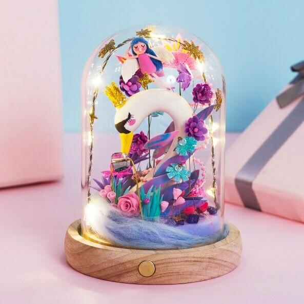 Сборная модель Цветной ночник из полимерной глины DC04 Прекрасный лебедь
