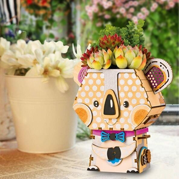 Деревянный 3D конструктор Robotime FT732 Цветочный горшок Коала