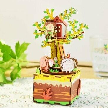 Деревянный 3D конструктор Robotime AM408 Музыкальная шкатулка Дом на дереве
