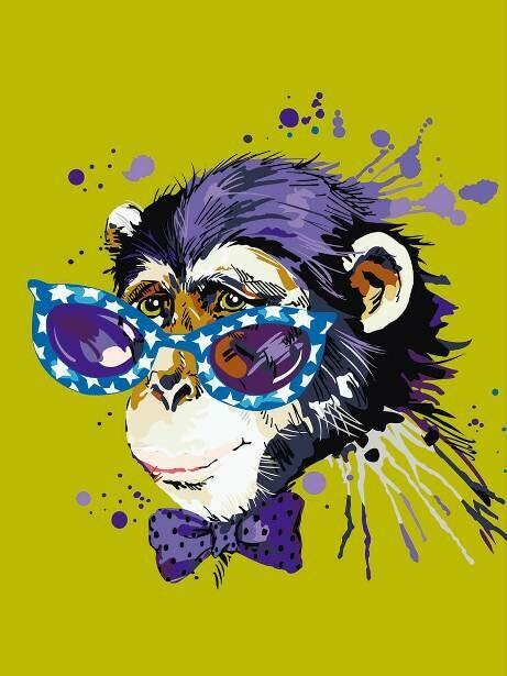 Картина по номерам (30х40см) Цветной ME1119 Disсo Monkey