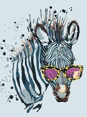 Картина по номерам (30х40см) Цветной ME1114 Зебра в очках