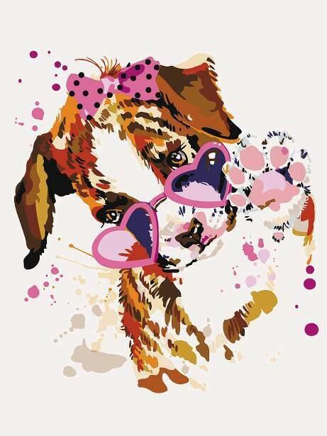 Картина по номерам (30х40см) Цветной ME1117 Щенок в розовых очках