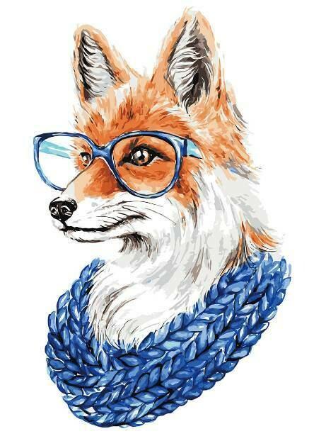 Картина по номерам (30х40см) Цветной ME1109 Лиса в очках
