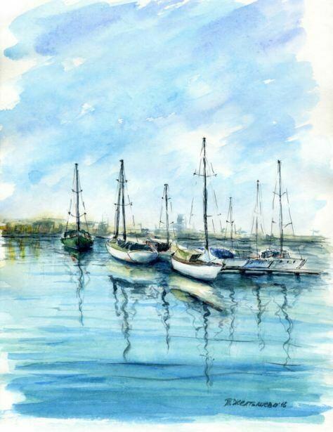 Картина по номерам (30х40см) Цветной ME1084 Морской пейзаж
