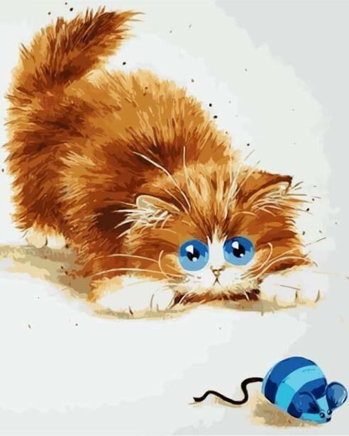 Картина по номерам (30х40см) Цветной ME1073 Кошки - мышки