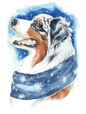 Картина по номерам (30х40см) Цветной ME1113 Зимний пес