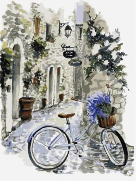 Картина по номерам (30х40см) Цветной ME1082 На велосипеде по провансу