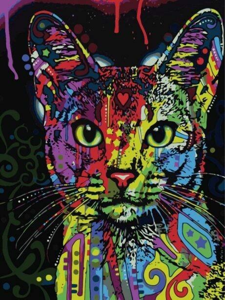 Картина по номерам (30х40см) Цветной ME1006 Кошка поп-арт