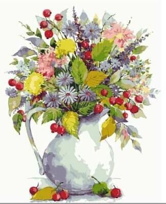 Картина по номерам (40х50см) Цветной MG2059 Букет с одуванчиками  и ягодами