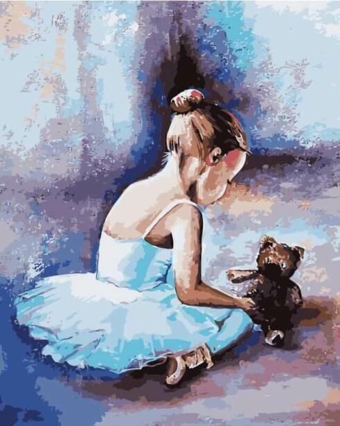 Картина по номерам (40х50см) Цветной MG2056 Балерина Первые шаги