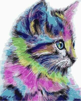 Картина по номерам (40х50см) Цветной MG2077 Разноцветная кошка