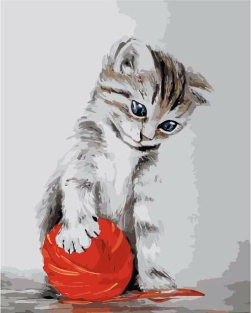 Картина по номерам (40х50см) Цветной MG2075 Котенок с красным клубком