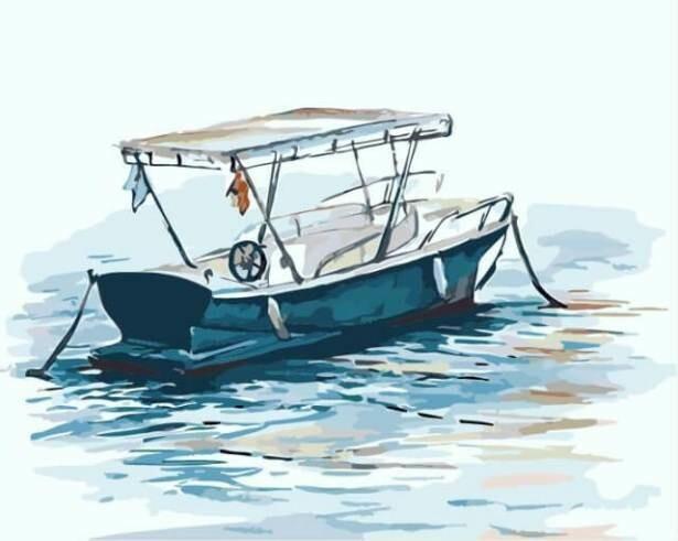 Картина по номерам (40х50см) Цветной MG2078 Одинокий катер
