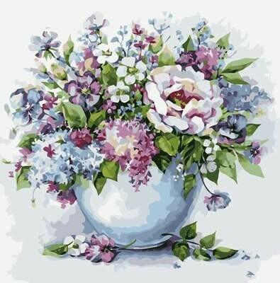 Картина по номерам (40х50см) Цветной MG2102 Нежные цветы в белой вазе