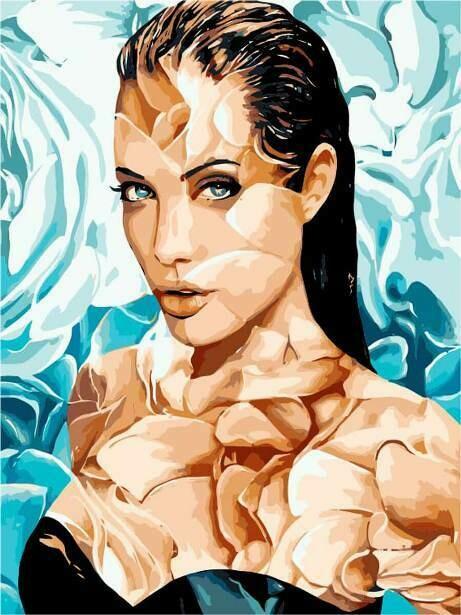 Картина по номерам (40х50см) Цветной MG2107 Анджелина Джоли