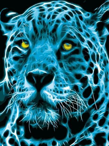 Картина по номерам (40х50см) Цветной MG2117 Неоновый ягуар