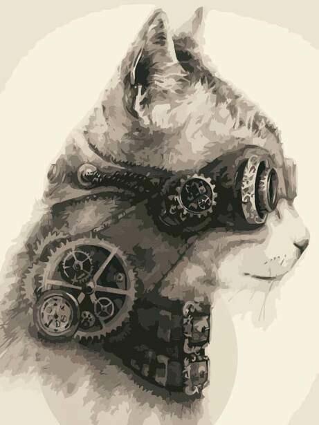 Картина по номерам (40х50см) Цветной MG2127 Стимпанк кот