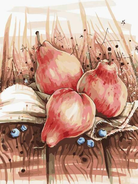 Картина по номерам (40х50см) Цветной MG2130 Натюрморт с грушами