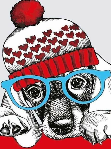 Раскраска по номерам на холсте (20x30см) ТМ Цветной MC1079 Модный пёс