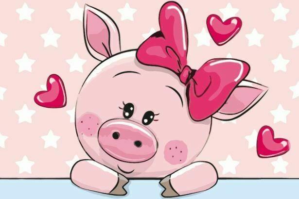 Раскраска по номерам на холсте (20x30см) ТМ Цветной MC1080 Влюбленная свинка