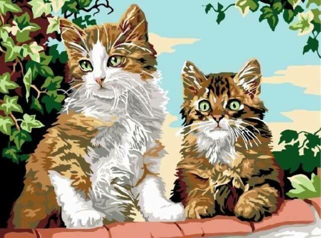 Картина по номерам (30х40см) Цветной EX5277 Котята на заборе