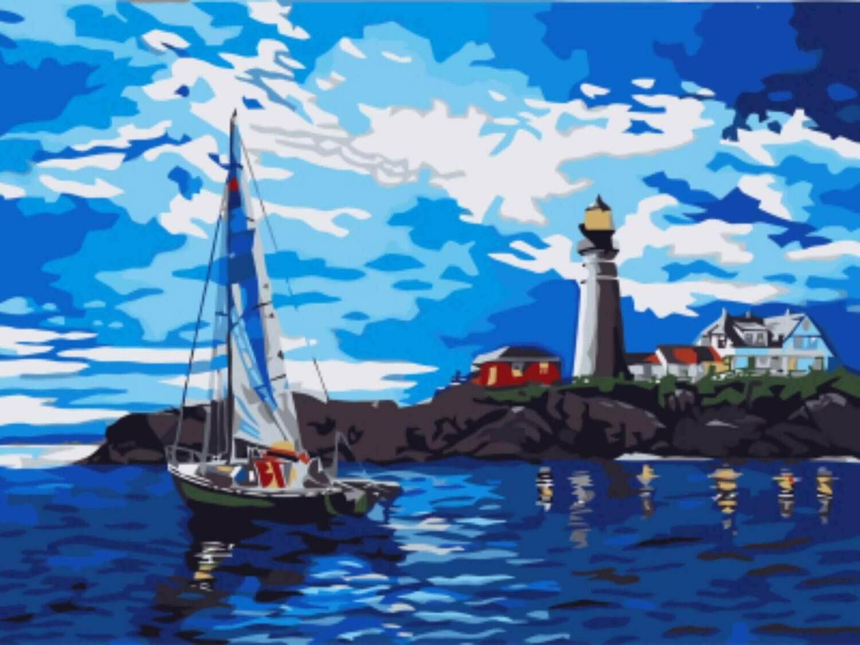 Картина по номерам (30х40см) Цветной EX5864 Яхта у маяка