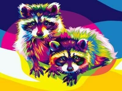 Картина по номерам (30х40см) Цветной EX5387 Радужный енот