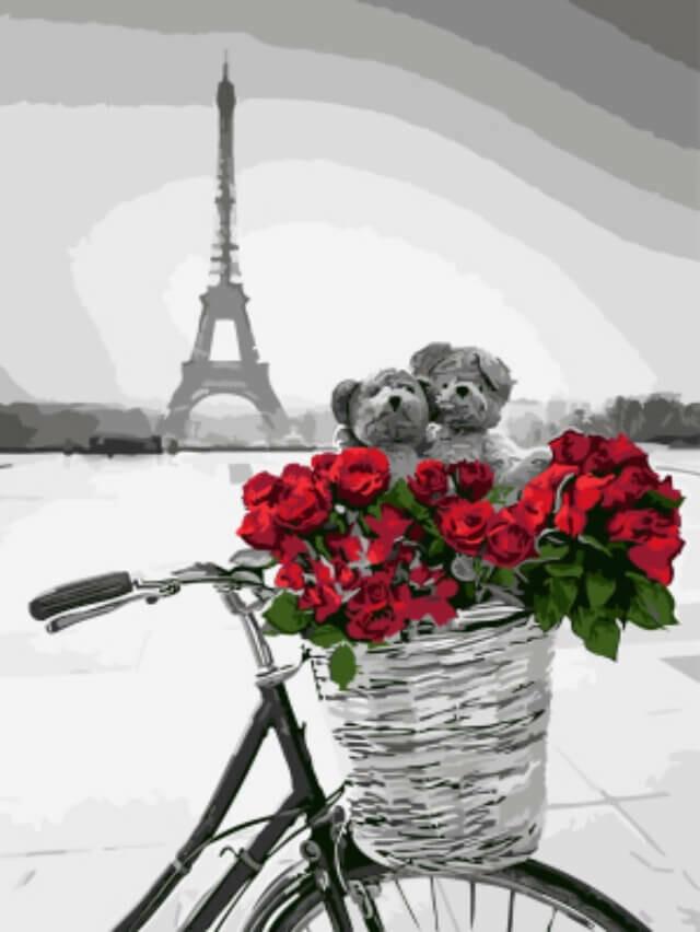 Картина по номерам (30х40см) Цветной EX5747 Красные цветы в корзинке на фоне Эйфелевой башни