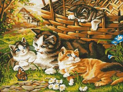 Картина по номерам (30х40см) Цветной EX5791 Котята на прогулке