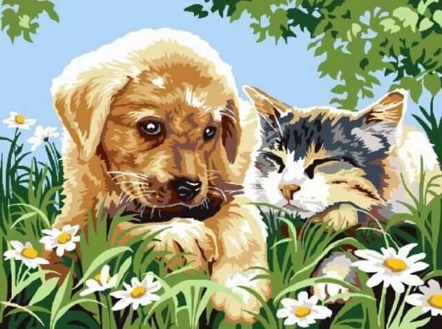 Картина по номерам (30х40см) Цветной EX5266 Милые друзья