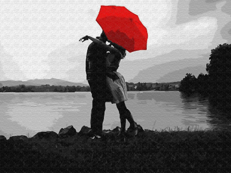 Картина по номерам (30х40см) Цветной EX5810 Свидание под красным зонтом