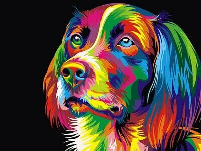Картина по номерам (30х40см) Цветной EX5251 Радужный пёс
