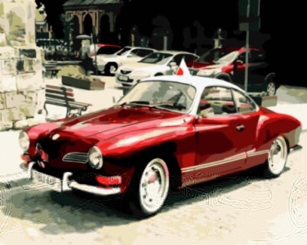 Картина по номерам ТМ Цветной GX8909 Красный ретро-автомобиль
