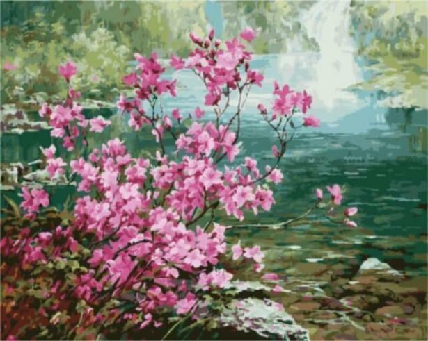 Картина по номерам ТМ Цветной GX8473 Цветущий куст у воды