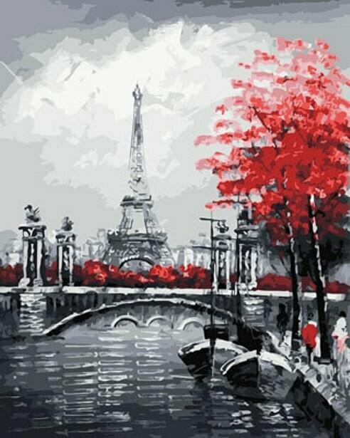 Картина по номерам ТМ Цветной GX29901 Канал на фоне Эйфелевой башни