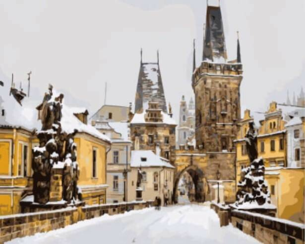 Картина по номерам ТМ Цветной GX8253 Карлов мост зимой, Прага