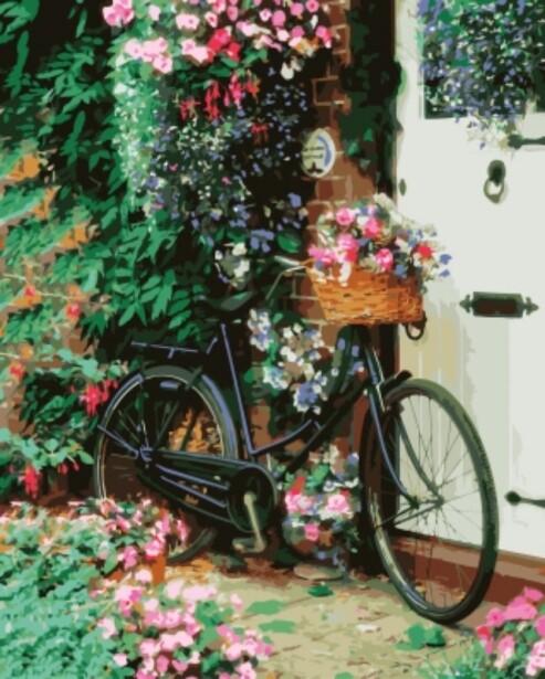 Картина по номерам (40х50см) Цветной GX8931 Велосипед с цветами