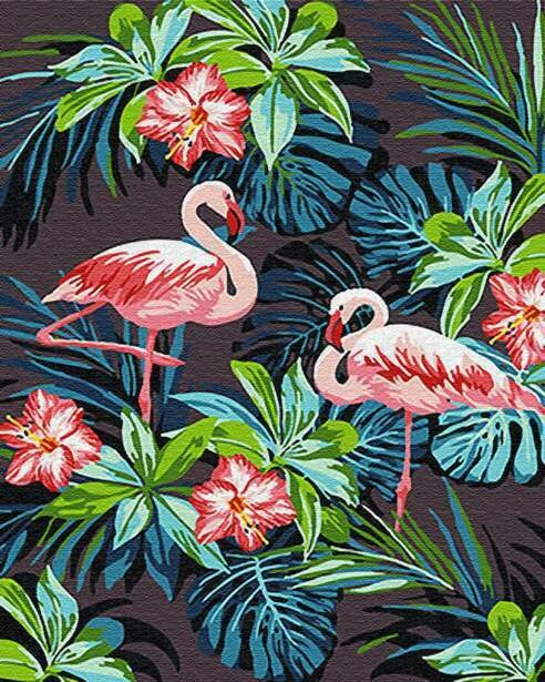 Картина по номерам (40х50см) Цветной GX26535 Фламинго в цветах