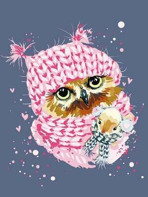 Картина по номерам (30х40см) Цветной ME1118 Зимняя сова