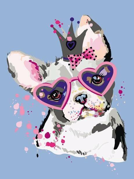 Картина по номерам (30х40см) Цветной ME1115 Сладкий щенок